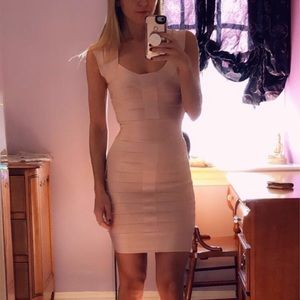 French Connection pale pink bandage dress